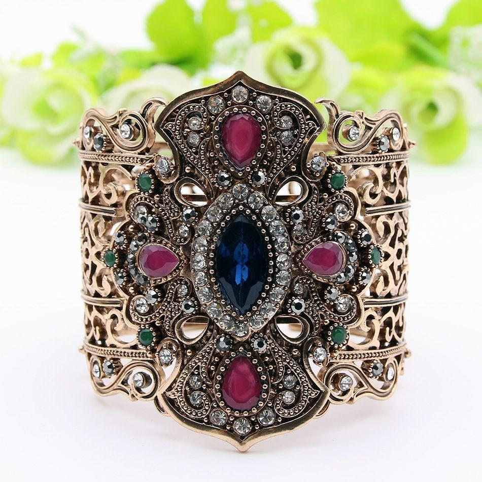 Ethnique turc femmes Bracelets larges Bracelets taille réglable Antique or couleur résine bijoux creux fleur mariée bracelet