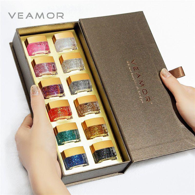 VEAMOR 12 pièces UV paillettes vernis à ongles résine vernis à ongles vernis UV constructeur cadeau boîte bon présent vernis ensemble Gel UV Gel vernis à ongles