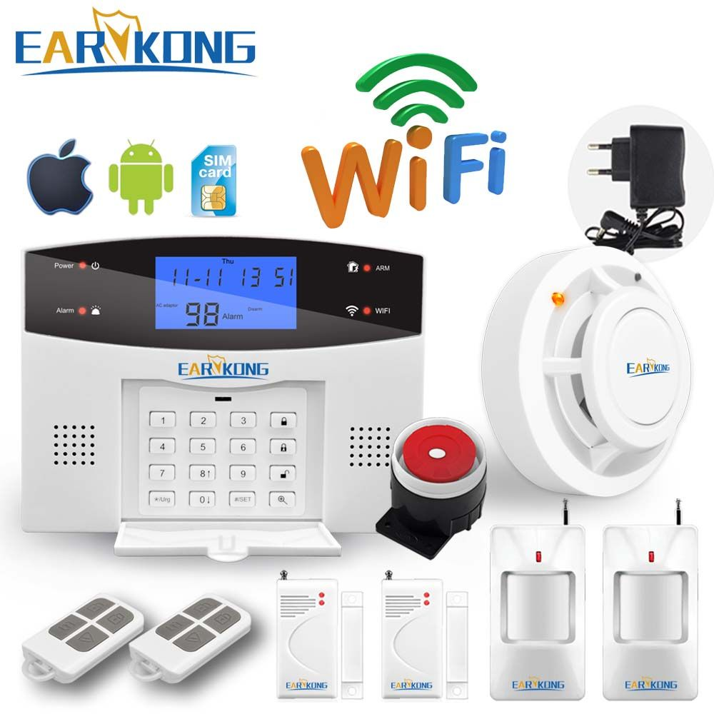 Wifi GSM PSTN Hause Einbrecher Sicherheit Alarm System Intercom 433 Wirelesss Sensor Alarm Fernbedienung Auto zifferblatt Sirene Sensor Kit