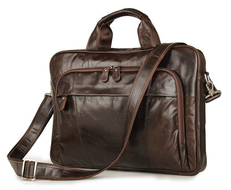 Nesitu Coffee Color Vintage Genuine Leather Men Briefcase Portfolio 14 inch Laptop Bag Messenger bags #M7334