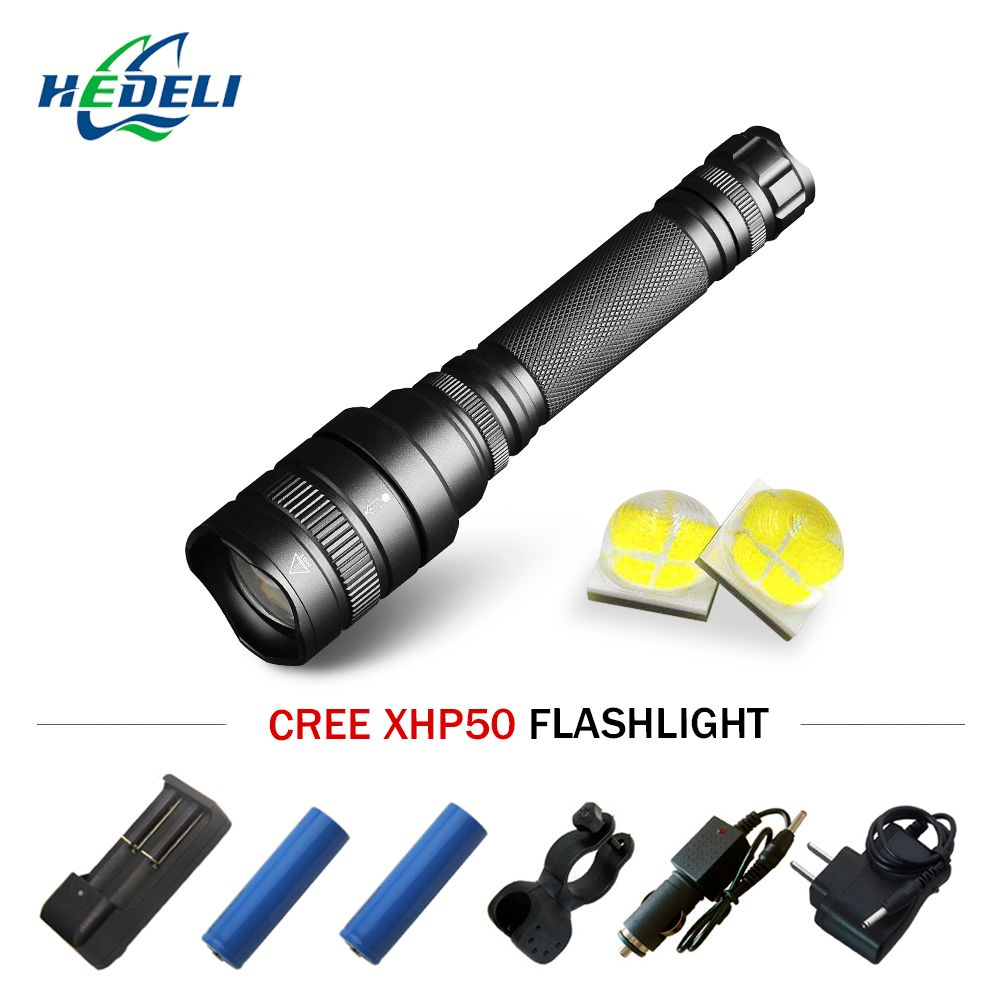High Power led Flashlight telescopic zoom flash light cree Xhp50 waterproof torch Lanterna linterna 18650 rechargeable batteries