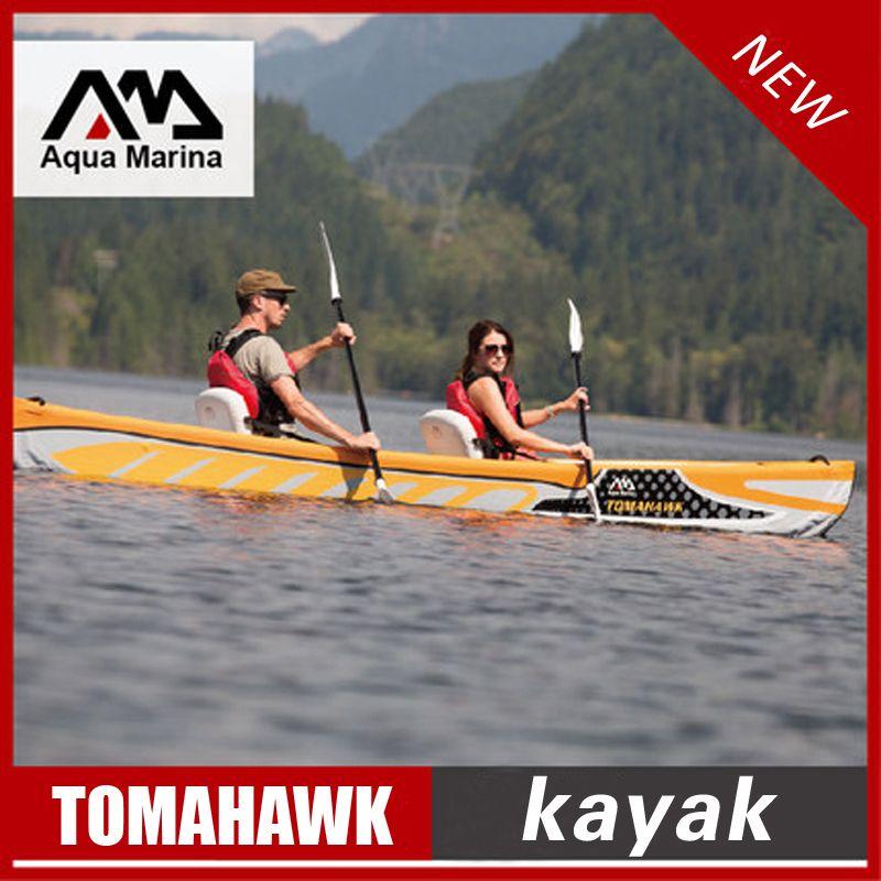 Aqua Marina TOMAHAW aufblasbare kajak boot kanu pvc beiboot floß aluminium paddel pumpe sitz manometer drop-stich laminiert