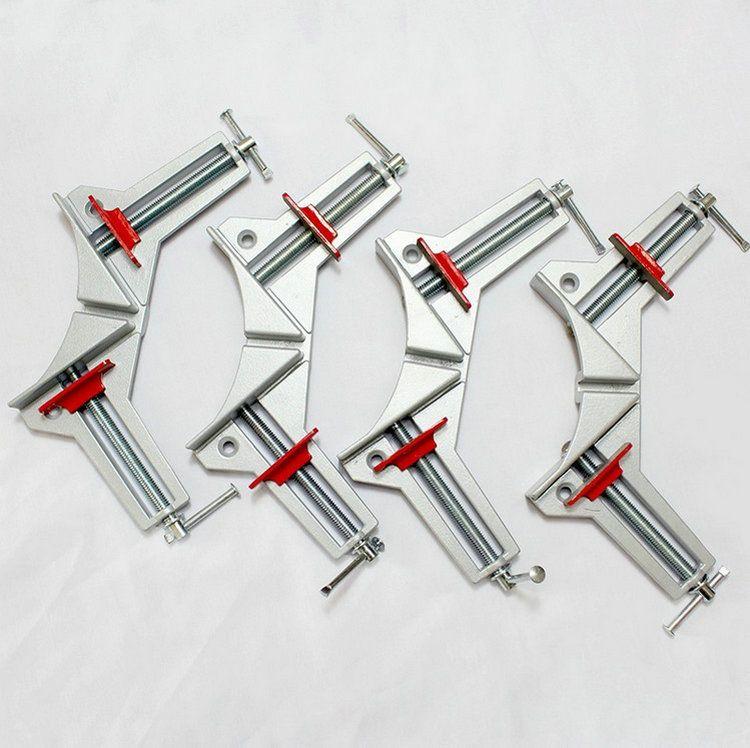 Actualizaciones espesar aleación de aluminio Ruggedized carpintería bricolaje 4 unids/set retención ángulo recto abrazadera / clip, 90 Degree Angular Clamp