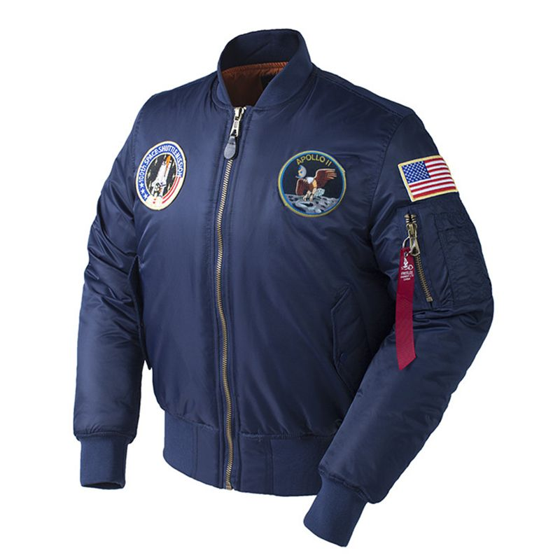 Winter Apollo 100th SPACE SHUTTLE MISSION Thick Padded MA1 Bomber Hiphop US Air Force Pilot Warm Oversized Flight Jacket For Men