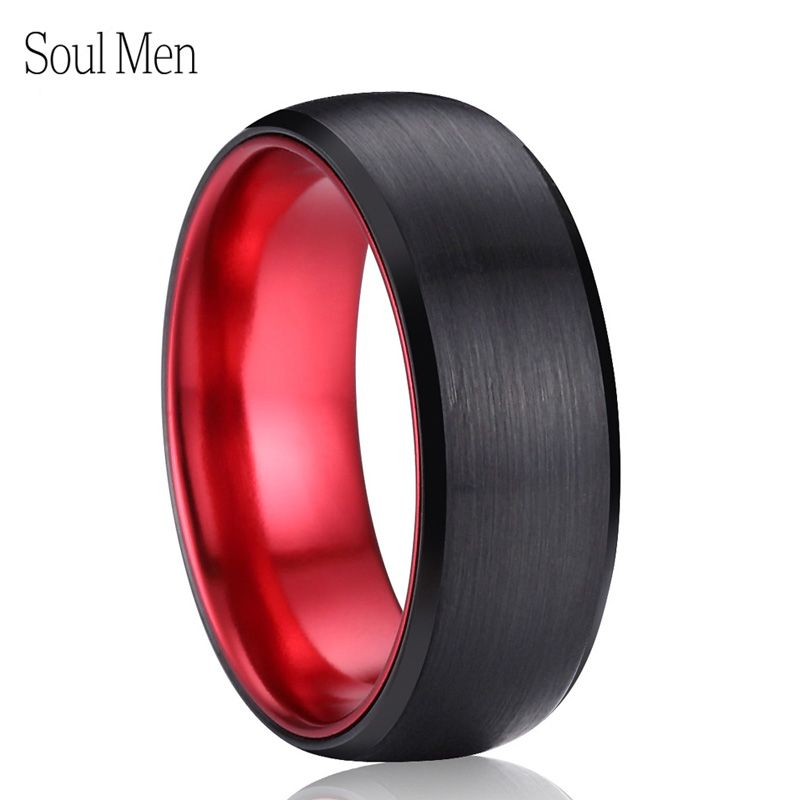 8mm Black & Red Color Brushed <font><b>Dome</b></font> Tungsten Carbide Ring Comfort Fit Men's Wedding Band Cool Summer Finger Jewelry Size 9 to 13