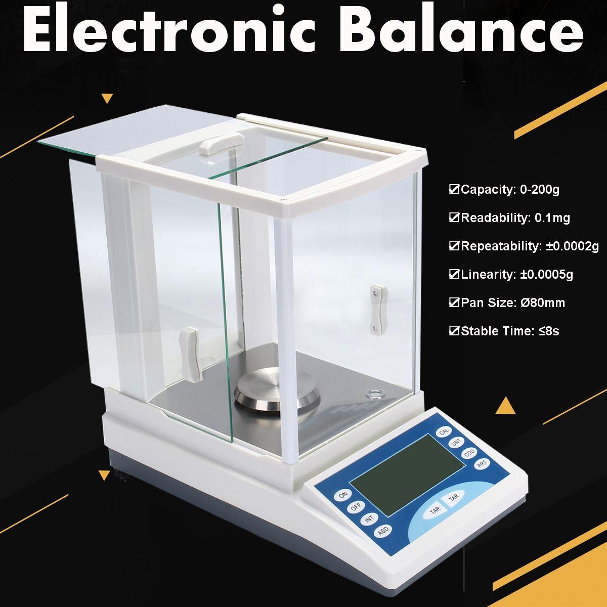 ZEAST 200 / 0.0001g 0.1mg 100-240V Digital Precision Scale Lab Analytical Balance Electronic Balance Aluminum Alloy Base