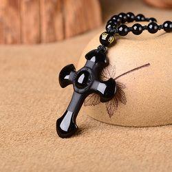 Drop Shipping jewelry Obsidian Pendant Necklace Cross Pendant Jewelry for Men Womens Pendants
