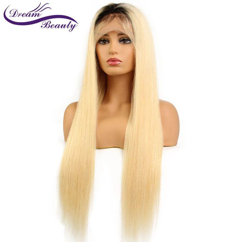 Träumen Schönheit 1B/613 Gerade Haar Lace Front Perücken Pre-gezupft Perücke Brasilianische Menschliche Remy Haar Perücke mit Schwarz Wurzeln