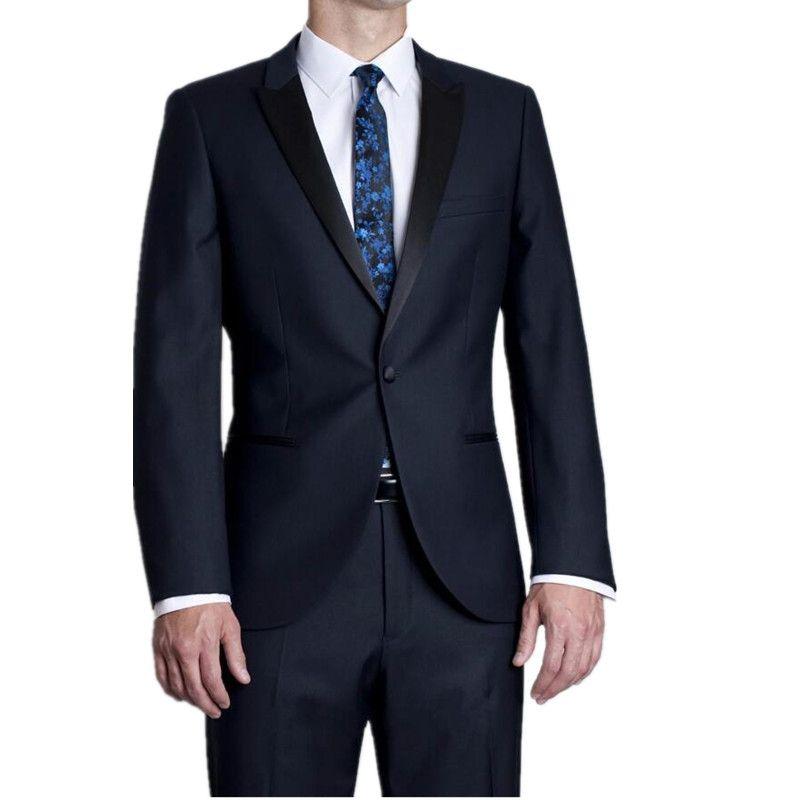 Popular Style One Button Navy Blue Groom Tuxedos Groomsmen Men's Wedding Prom Suits Bridegroom (Jacket+Pants)