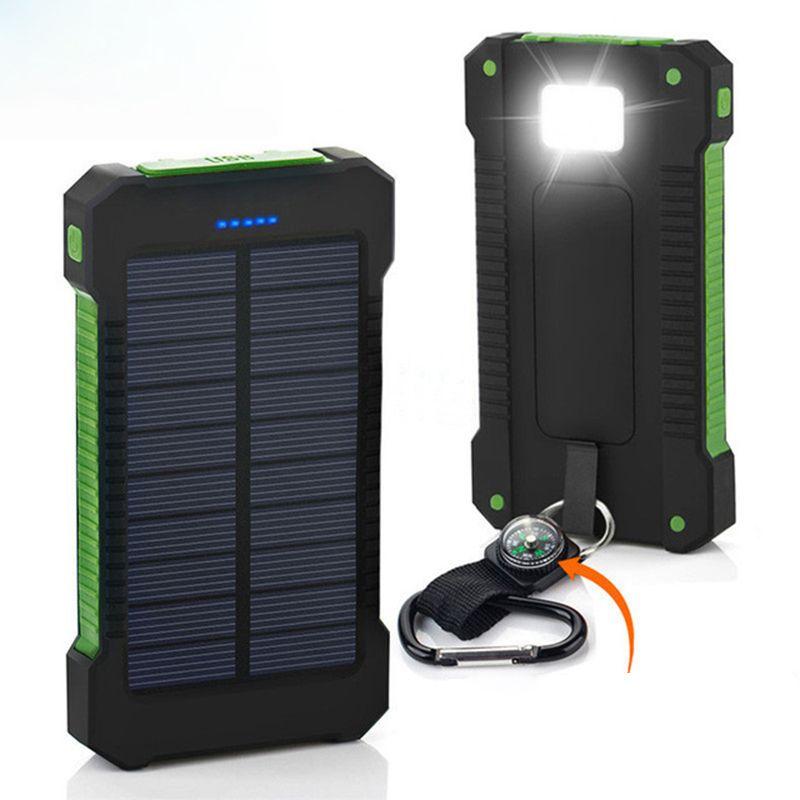 Portable batterie Portable solaire 20000 mah Imperméable À L'eau De Secours De Batterie Externe Powerbank 20000 mah Chargeur de Batterie De Téléphone LED Povre Banque