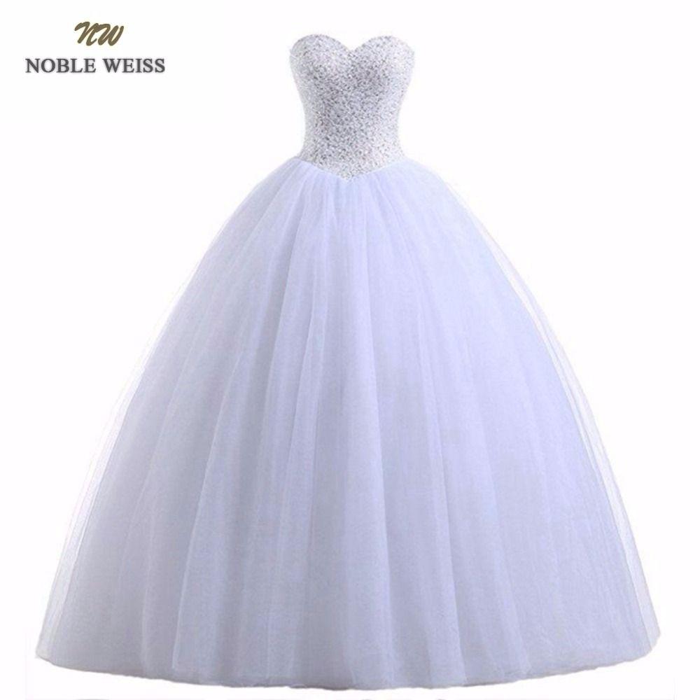 EDLE WEISS Robe De Mariage Ballkleid Weiß/Elfenbein Hochzeit Kleider Prinzessin Luxus Perlen Vestido De Noiva Casamento Braut kleid