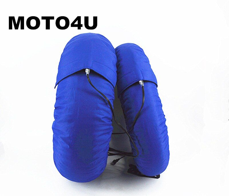 1 pair Motorcycle Tire Warmer Tyre Warmer Set 120/165, 120/ 190,120/200 17 Front and Rear Race Blue