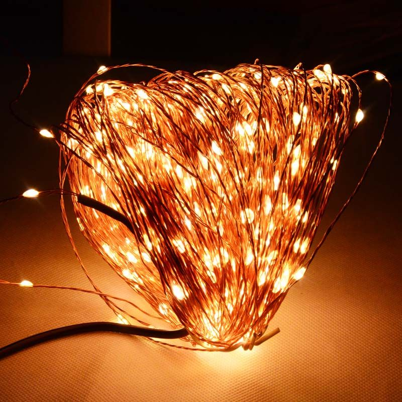 High Quanlity 50M 500 LED Copper Wire Fairy Christmas Wedding Festival String Lights Holiday Lights + Power Adapter