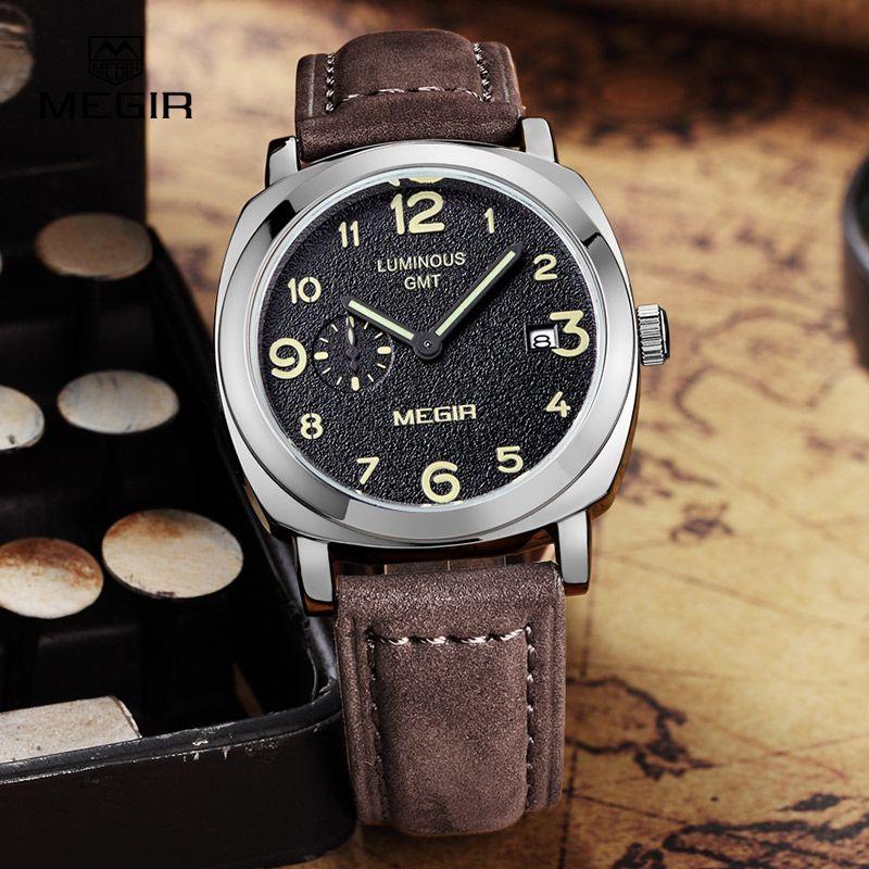MEGIR fashion military leather quartz watch men casual business waterproof <font><b>luminous</b></font> analog wristwatch man free shipping 1046