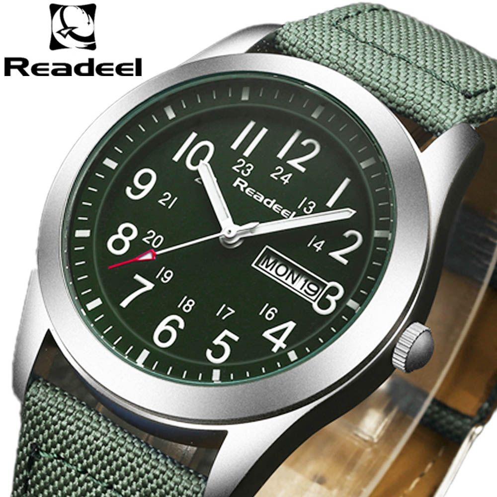 2019 nouvelle marque de luxe Readeel hommes Sport montres hommes horloge à Quartz homme armée militaire toile bracelet montre-bracelet Relogio Masculino