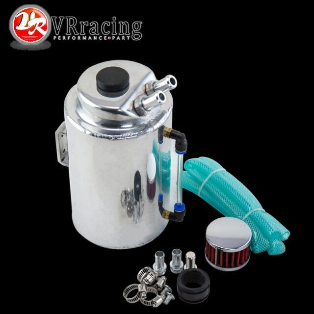 VR RACING - 2L 2 LITRE ALUMINIUM POLISHED ROUND OIL CATCH CAN TANK WITH BREATHER FILTER VR-TK01