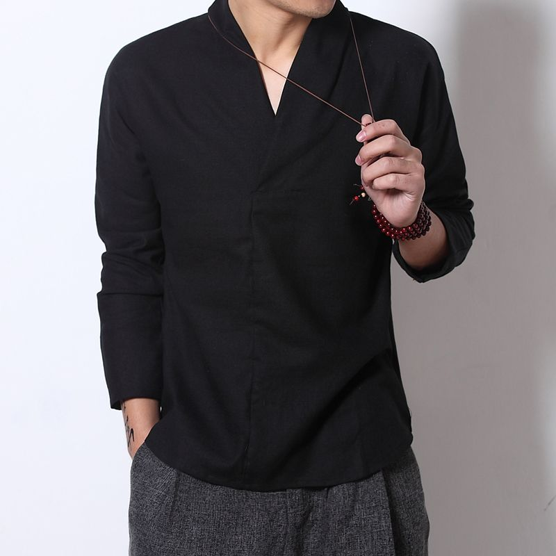Men's Linen Shirt Long Sleeve Chinese Chinese Neckline Traditional Kung Fu Casual #h
