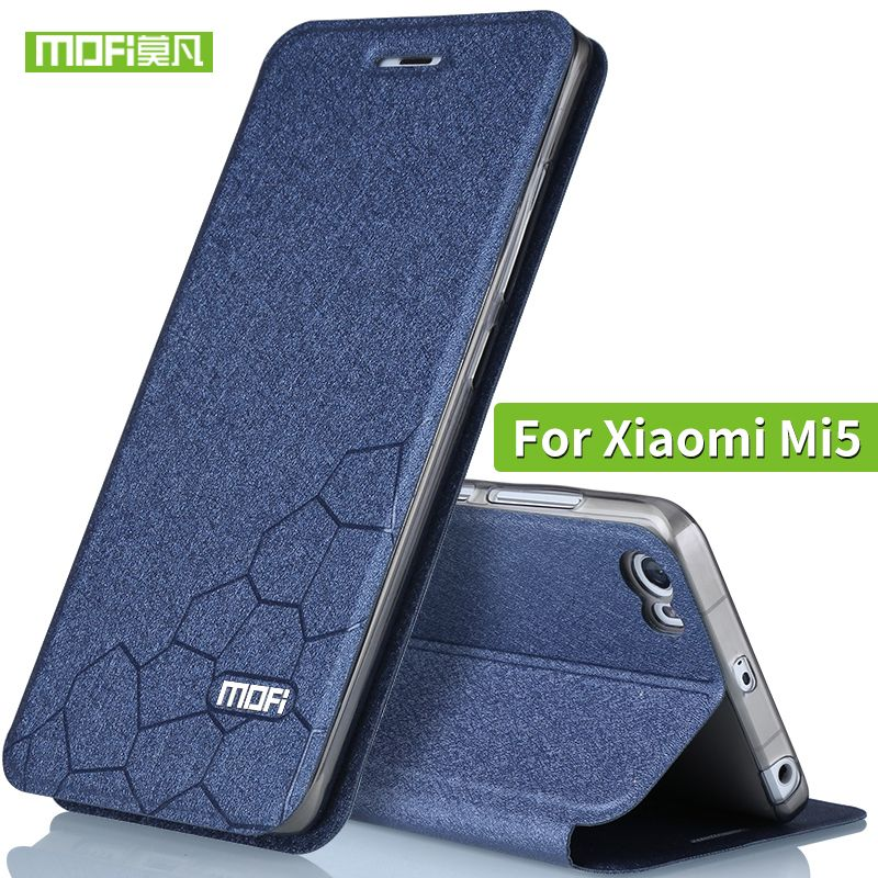 Xiaomi mi5 cas flip en cuir de silicium couverture Mofi d'origine xiaomi 5 cas ultra mince tpu xiaomi mi 5 TPU fundas portefeuille noir