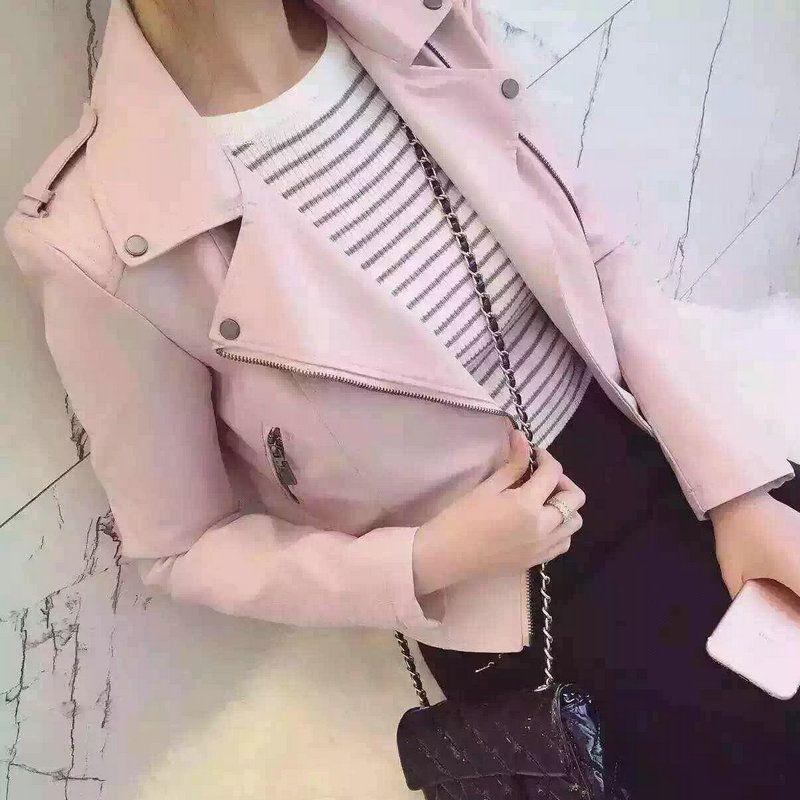 2019 nouvelle mode Femmes décontracté Moto Faux Doux vestes en cuir Filles Automne Hiver Rose Noir Manteau Outwear PU Streetwear
