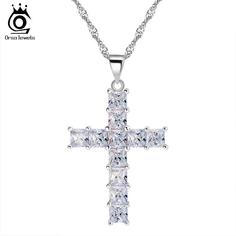 De lujo Cruz Colgante Collar de 11 Unidades de Princesa Cut Cubic Zircon Collar Colgante para Las Señoras y Las Mujeres ON100