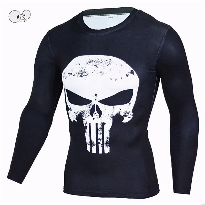 3D Punisher Skull Long Sleeve Mens Running Shirt Compression Crossfit Fitness Top Tees Male Anime Superhero Superman Tshirt