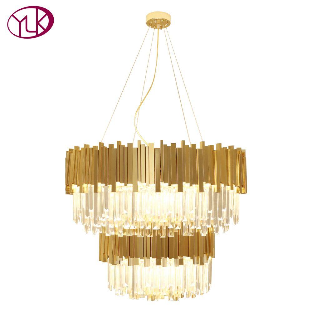 Youlaike Luxury Modern Crystal Chandelier Double Layers Gold Hanging Lighting Fixtures Living Room Foyer LED Lustres De Cristal