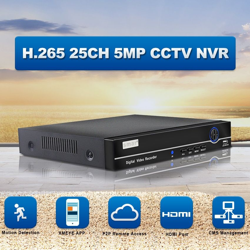 Smar H.265 NVR FULL HD 25CH 5MP 8CH 4K Network Video Recorder ONVIF P2P HDMI VGA Surveillance Support 3G WIFI