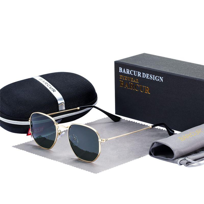 BARCUR classique rétro lunettes De soleil réfléchissantes homme hexagone lunettes De soleil cadre métallique lunettes De soleil avec boîte