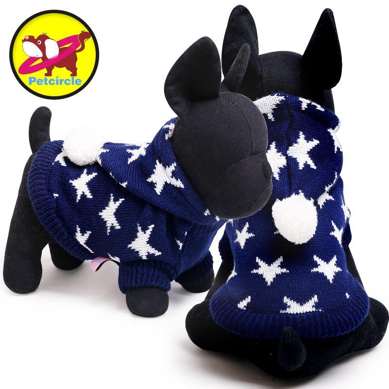 Petcircle suave estrella perro suéter rojo azul color pequeños y grandes ropa para perros Otoño Invierno ropa para perros envío libre