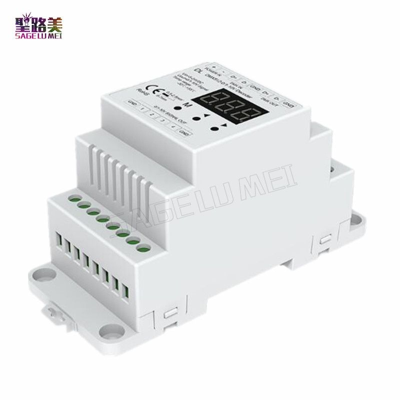 DL DC5V-24V DMX512 to 4CH 0-10V Decoder 0-10V LED Dimmer DMX 512 Signal to 0-10V Signal RGB/RGBW controller 4 Channel Dimmer
