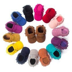Bebes PU Suede Leather Newborn Baby Boy Girl Moccasins Soft Moccs First Walkers Fringe Soft Soled Non-slip Footwear Crib Shoes