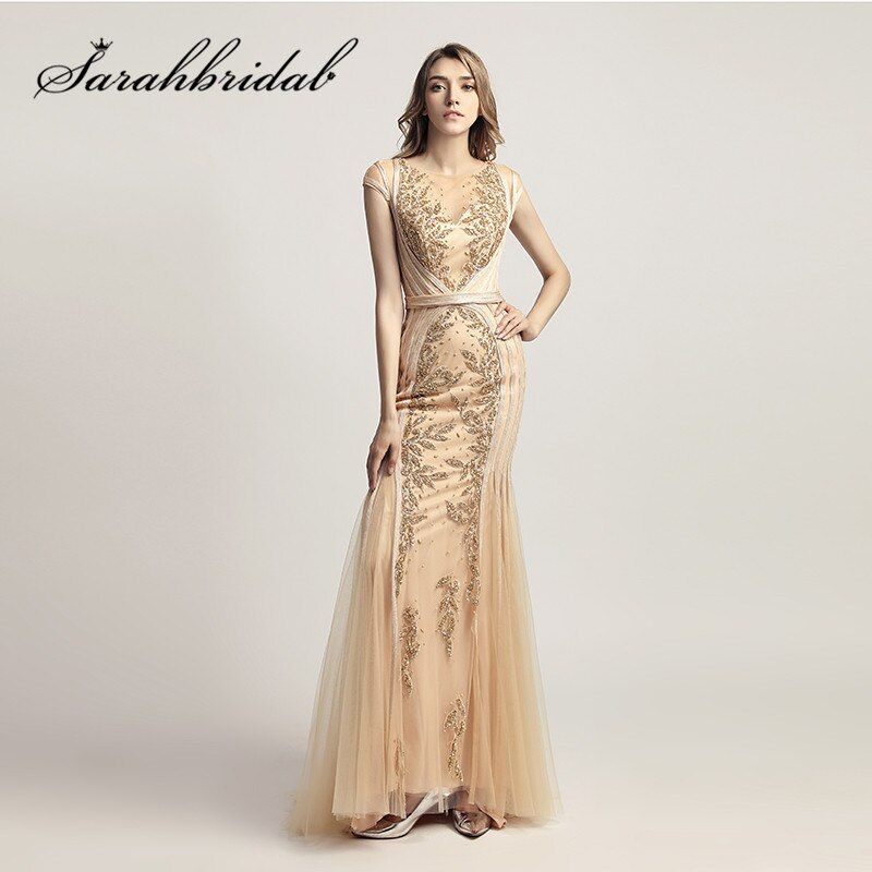 Gold Mermaid Evneing Dresses Long Beaded Embroidery Illusion Neck Robe de Soiree Sweep Train Real Photos Prom Formal Gowns CC296