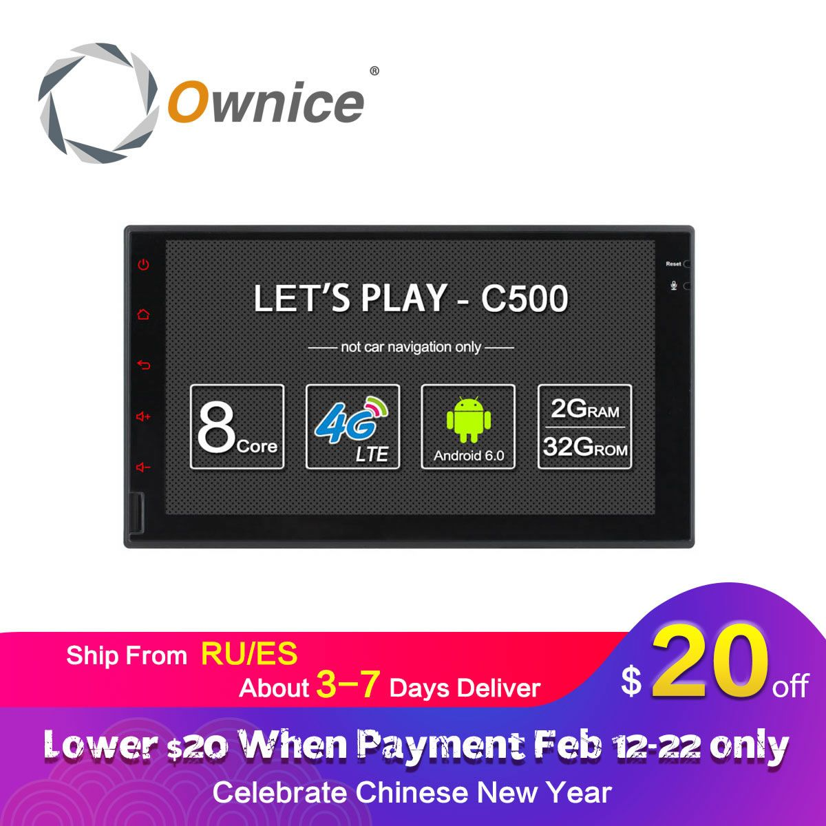 Ownice C500 Octa 8 Core Android 6.0 2G RAM 32GB ROM Support 4G LTE SIM Network Car GPS 2 din Universal car Radio player no dvd