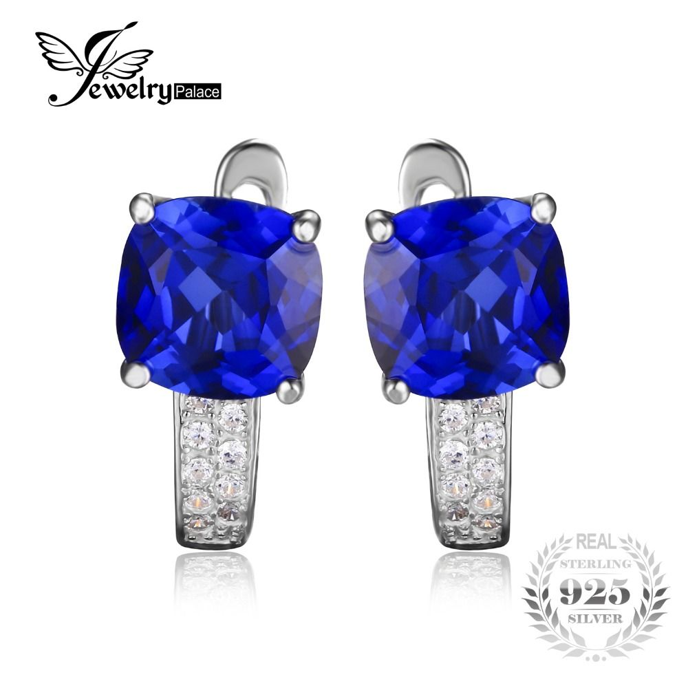 JewelryPalace Cushion 4.6ct Created Blue Sapphires Clip On Earrings 925 Sterling Silver Fashion Jewelry Vintage Gift For Women
