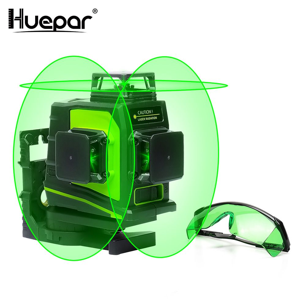 Huepar 12 Lines 3D Cross Green Beam Line Laser Level Self-Leveling 360 Degree Vertical & Horizontal USB Charging with Glasses