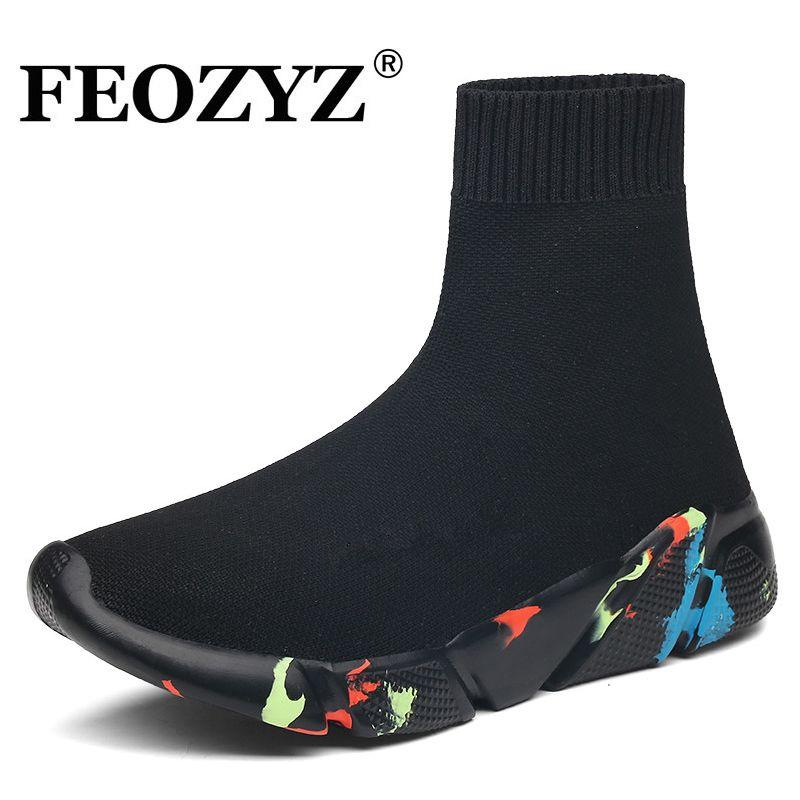 FEOZYZ baskets femmes hommes tricot supérieur respirant Sport chaussures chaussette bottes femme Chunky chaussures haut Top course chaussures pour hommes femmes
