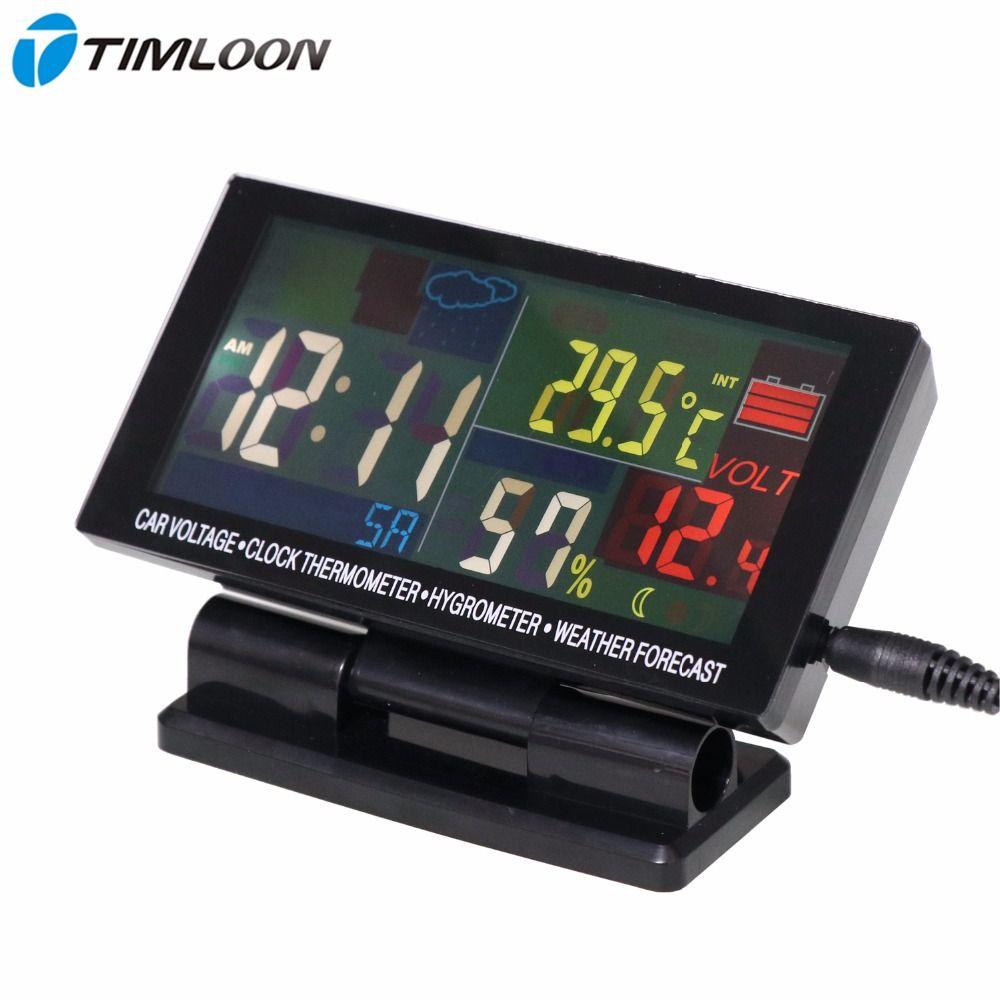 Tension de voiture 12 V-24 V, thermomètre d'horloge, hygromètre, calendrier mensuel de prévision météo avec grand écran d'affichage couleur