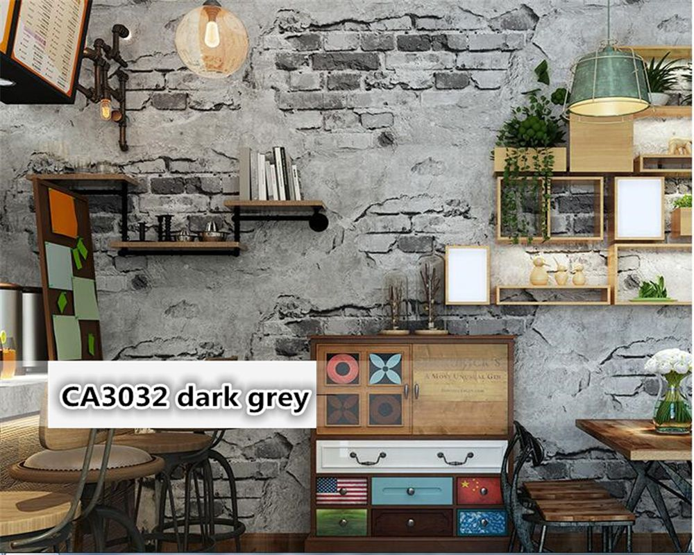 beibehang Brick 3d wallpaper retro old grey cement brick industrial wind antique personality PVC background wall paper behang
