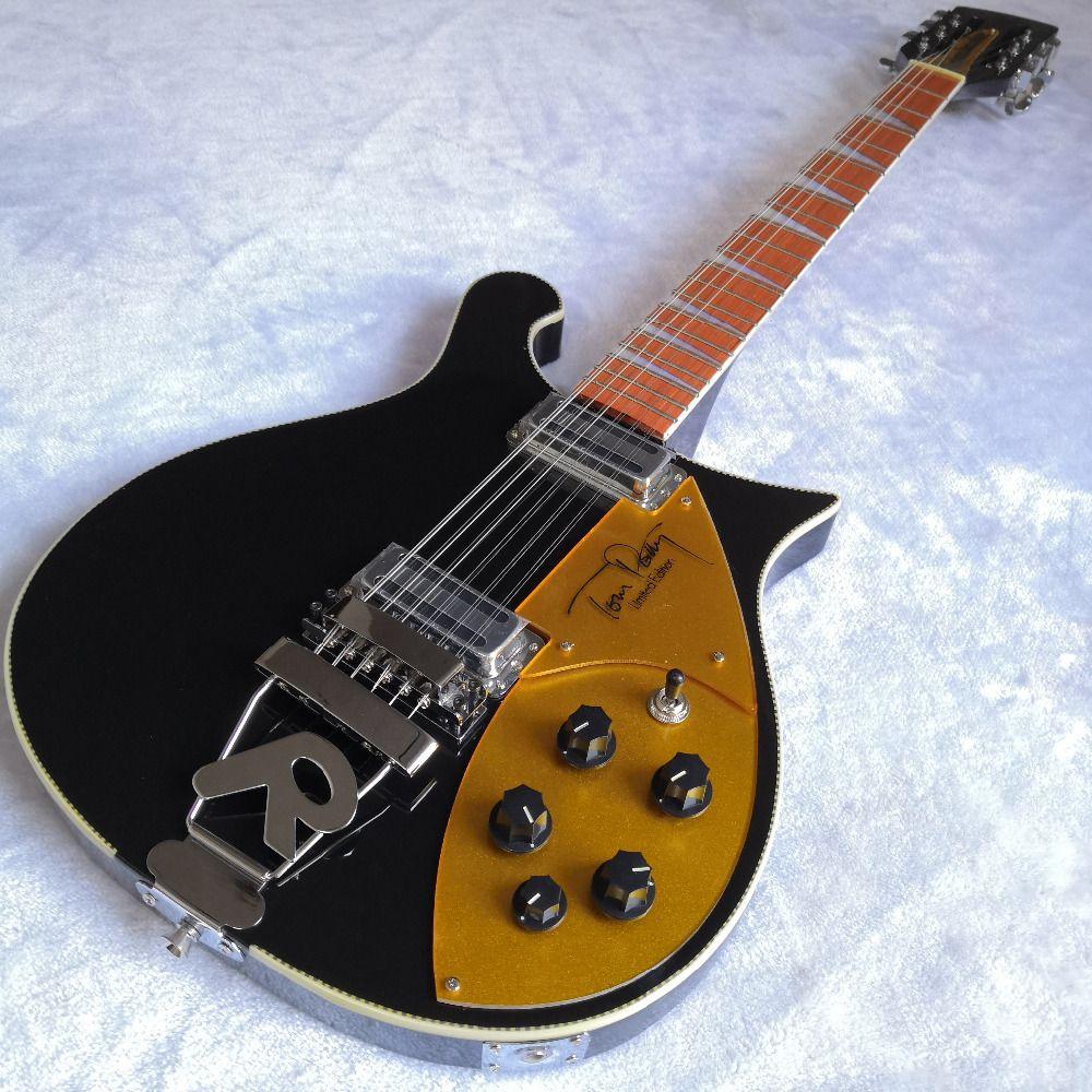 660 schwarz elektrische gitarre. Reiche neck thru körper, 12 saiten Tom Petty Unterschrift stil elektrische gitarre