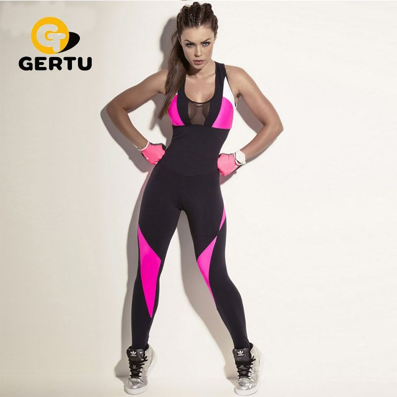 2017 Fashion Mesh Sporting Bodysuit Women Fitness Stretch Sexy Jumpsuits Backless Candy Pink Black Patchwork Hollow Out Playsuit