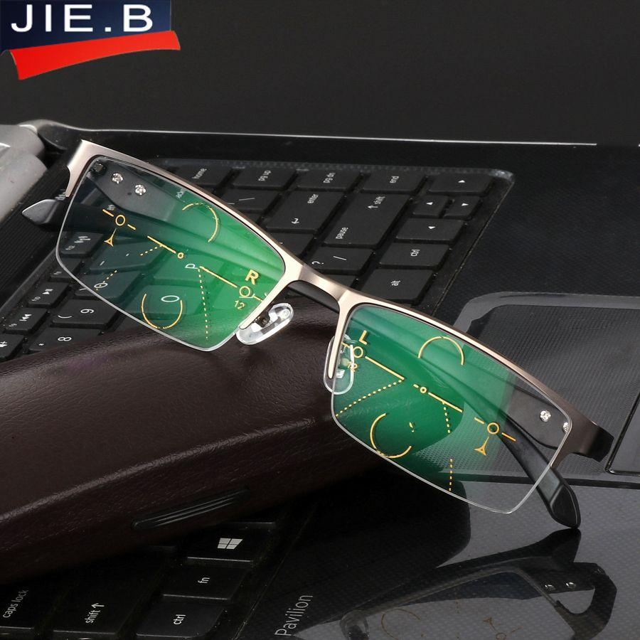 2017 Titanlegierung Qualität Multifocal linsen Lesebrille Männer Mode Halbrand Progressive Brille Platz dioptrien gläser