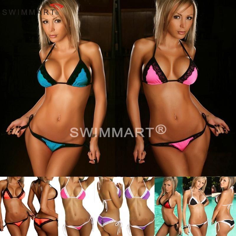 Mini Bikini 2018 femmes doux extrême Sexy Micro Triangle brésilien maillot de bain Bikini maillot G string Bikini Tanga