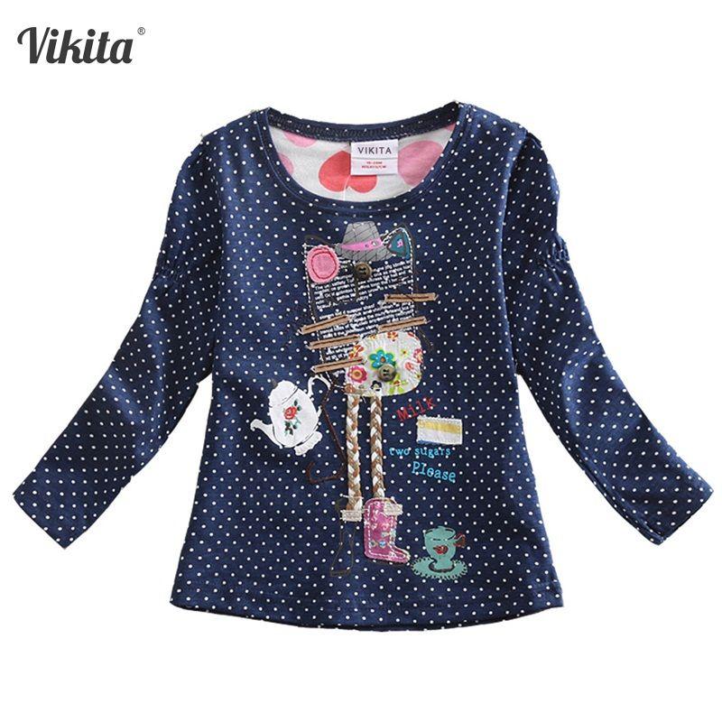 VIKITA filles T-shirts pour enfants T-Shirts pour filles T-shirts à manches longues enfants hauts fille vêtements 2018 tout-petits T-Shirts F2101 Mix