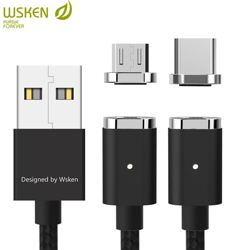 WSKEN Mini2 USB câble de Charge magnétique câble de Charge rapide Micro USB type C pour Samsung Galaxy S9 S8 Note8 S7 S6 Huawei Xiaomi 1 M