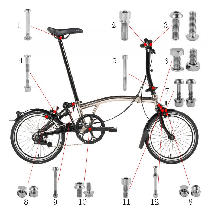 Fahrrad Titan Schrauben Schrauben Set Für Brompton Titan Faltrad Bremse Lenker Befestigung Sattelstütze Clamp Headset Bolzen