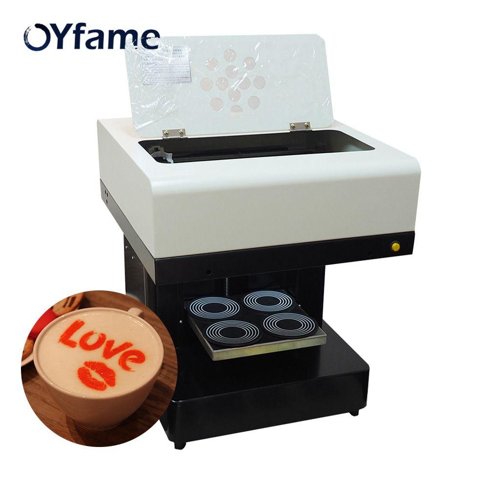 OYfame 4 tassen Kaffee Drucker Lebensmittel Kuchen Schokolade Selfie Priter kaffee Druck Maschine für Cappuccino Kekse Mit 2 set tinte