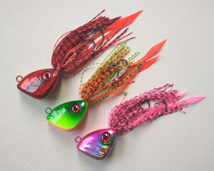3pcs 150g Rubber jig Jig head with fishing lure skirt  lead jig lead fish jigging lure metal fishing lure free shipping