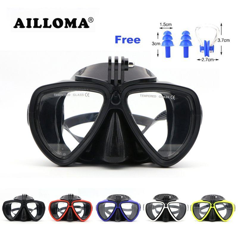 AILLOMA Scuba Unterwasser Anti Fog Kamerahalterung Stehen Tauchen Masken Anti-skid Gehärtetem Glas Silikon PVC Schwimmen Masken Brille