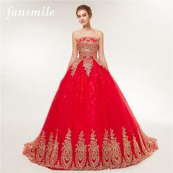 Fansmile 2017 Livraison Gratuite Vintage Dentelle Rouge Robes De Mariée Longue Train Plus La Taille De Mariée robe de Bal Robe de Mariée Pas Cher FSM-118T