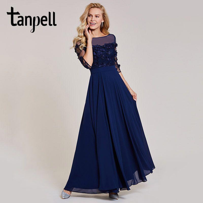 Tanpell split front evening dress dark navy 3/4 sleeves floor length a line gown women formal appliques long evening dresses